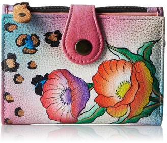 Anna by Anuschka Hand Painted Leather Ladies Wallet | Animal Floral
