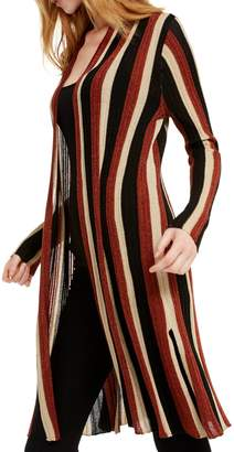 INC International Concepts Striped Metallic Long Cardigan