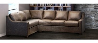 Ebern Designs Made In Usa Sandler Distressed Brown Top Grain Leather Sectional Sofa Orientation: Left Hand Facing