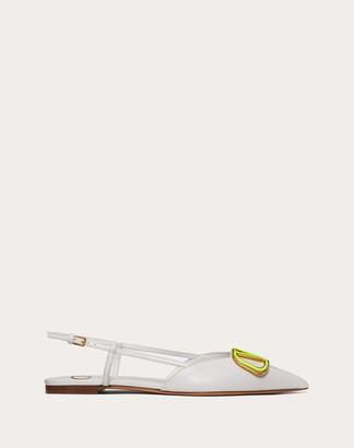 Valentino Vlogo Calfskin Slingback Ballet Flat Women Optic White 100% Pelle Di Vitello - Bos Taurus 35