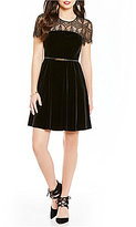 Jessica Simpson Lace Trim Belted Velvet Dress