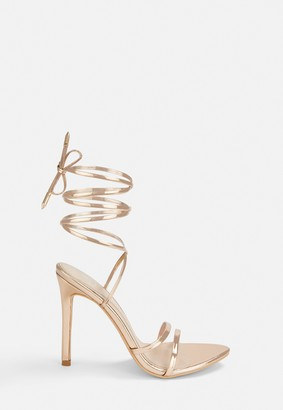 Missguided Rose Gold Pointed Toe Barely There Heels