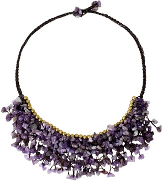 Novica Artisan Crafted Beaded Amethyst Necklace