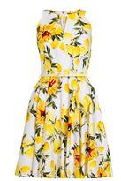 Quiz White And Lemon Printed Skater Dress