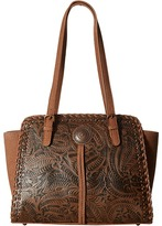 American West Trinity Trail Zip Top Tote Tote Handbags