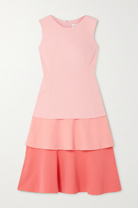 Oscar de la Renta Tiered Wool-blend Crepe Midi Dress - Pink