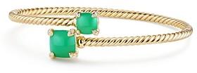 David Yurman Chatelaine Bypass Bracelet with Chrysoprase & Diamonds in 18K Yellow Gold