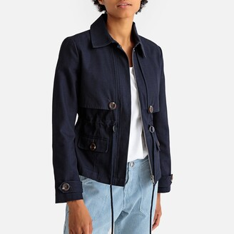 La Redoute Collections Cotton Utility Safari Parka with Tie-Waist and Pockets
