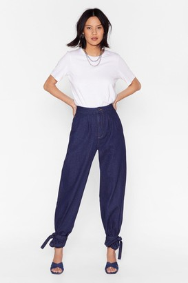 Nasty Gal Womens High-Waisted Balloon Jeans with Ankles Tie Closure - Indigo