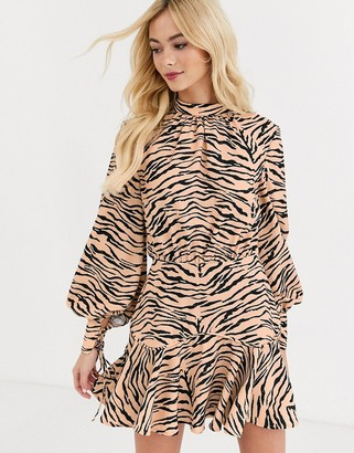 Finders Keepers high neck long sleeve dress in tiger print-Multi