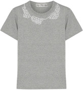 Comme des Garcons Jupe By Jackie Faux Pearl-embellished Cotton-jersey T-shirt - Gray