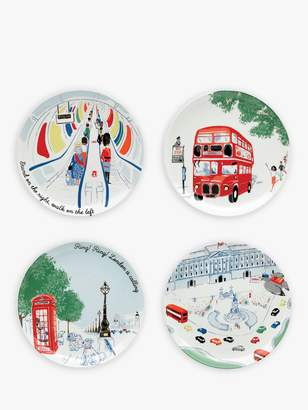 Cath Kidston 'All Aboard' London Plates, Set of 4, Assorted, 19cm