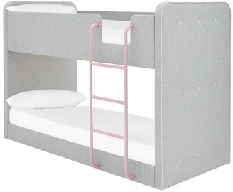 Charlie Fabric Bunk Bed with Mattress Options (Buy and SAVE!) - Grey/Pink