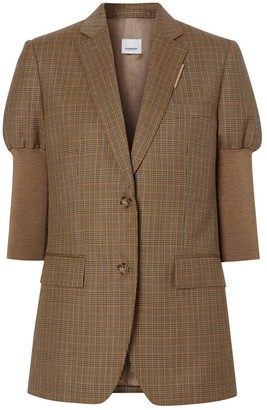Burberry Knitted Sleeve Houndstooth Check Wool Tailored Jacket