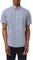 Topman Short Sleeve Squiggle Print Sport Shirt