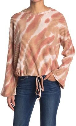 CODEXMODE Waffle Knit Tie Dye Drawstring Hem Sweater
