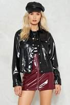 Nasty Gal Wine and Shine Patent Vegan Leather Jacket