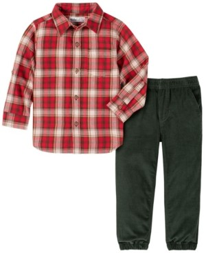 Kids Headquarters Toddler Boys Plaid Woven with Cord Jogger Pant Set, 2 Piece