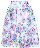 QIYUN.Z New Organza Purple Flower Printed Plaid Full Pleated Summer Women Midi Skirts Jupes