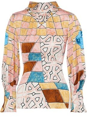 Peter Pilotto Bow-detailed Floral-print Hammered Stretch-silk Blouse