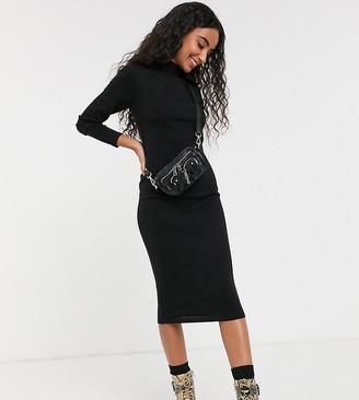 Brave Soul Petite rouse midi dress with turtle neck-Black