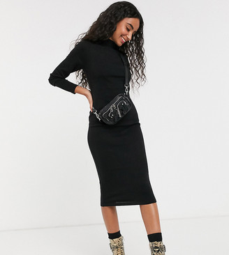 Brave Soul Petite rouse midi dress with turtle neck