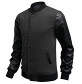 WSLCN Mens Bomber Jacket Faux Leather Long Sleeves Baseball Jacket