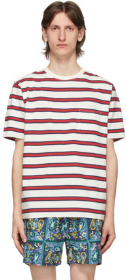 Beams White Striped Pocket Border T-Shirt