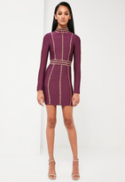 Missguided Purple High Neck Premium Bandage Dress