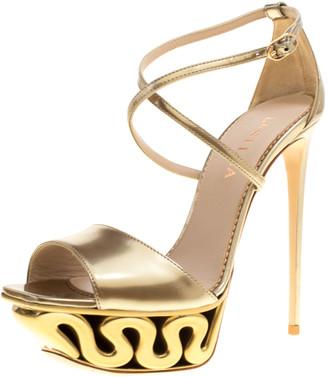 Le Silla Metallic Gold Leather Venus Cross Strap Platform Sandals Size 38.5