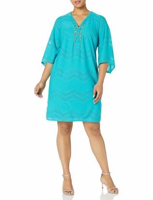 London Times Women's Plus Size 3/4 Sleeve Knit Tunic Dress w. Lace Up Front