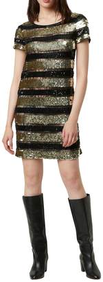 French Connection Anni Embellished Striped Mini Dress