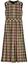 Burberry sleeveless pleat detail check georgette dress