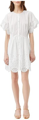 La Vie Rebecca Taylor Short Sleeve Eyelet Dress (Milk) Women's Clothing