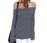 ZJCT Women's Fitted Off Shoulder Long Sleeve Stripe Shirt Top Blouse M