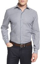 Ermenegildo Zegna Grid-Check Long-Sleeve Sport Shirt, Blue Pattern