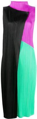 Pleats Please Issey Miyake Colour-Block Pleated Midi Dress