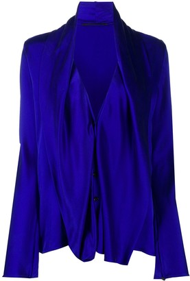 Haider Ackermann Draped Bib Long-Sleeved Shirt