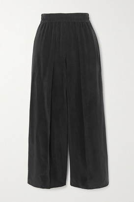 Alice + Olivia Elba Cropped Cupro Wide-leg Pants - Black