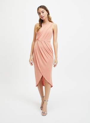 Miss Selfridge PETITE Pink Drape Front Midi Dress