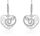 Effy Jewelry Effy 14K White Gold Diamond Accented Heart Earrings, 0.26 TCW
