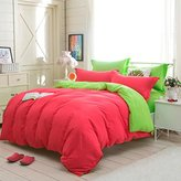 Ikevan 4 Pcs Set Bed Lovers Bed Linen Home Textile Holiday Lovers Bedding Set Duvet Cover Bed Pillowcases (1pc Duvet Cover,1pc Flat Sheet and 2pcs Pillowcases) (King Size, Watermelon Red)