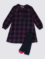 Marks and Spencer 2 Piece Cotton Rich Dress with Tights (1-7 Years)