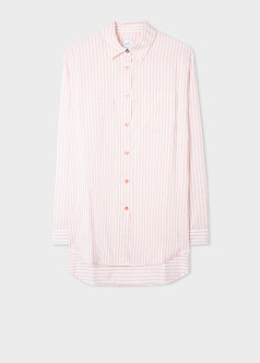 Paul Smith Women's Pink and White Pinstripe Long Shirt - polyester | 46 (L)