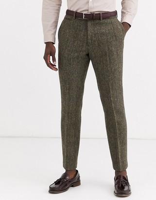 Asos Design DESIGN slim suit trousers in 100% wool Harris Tweed in brown herringbone
