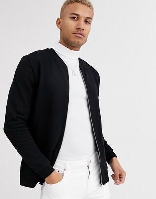 Asos Design DESIGN jersey bomber jacket in black with side zips