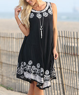 Ananda's Collection Women's Casual Dresses Balck/Silver - Black & Silver Embroidered Shift Dress - Women