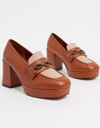ASOS DESIGN Selina platform mid-heeled loafers in blush/tan