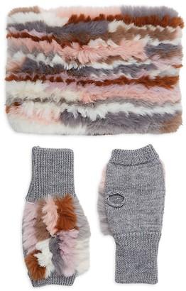Jocelyn 2-Piece Faux Fur Wool-Blend Neck Wrap Fingerless Mitten Set