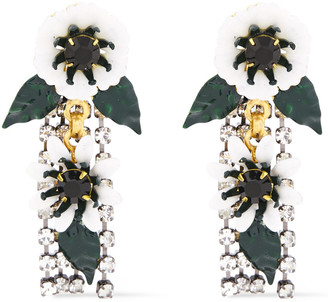 Elizabeth Cole 24-karat Gold And Hematite-plated, Crystal And Resin Earrings